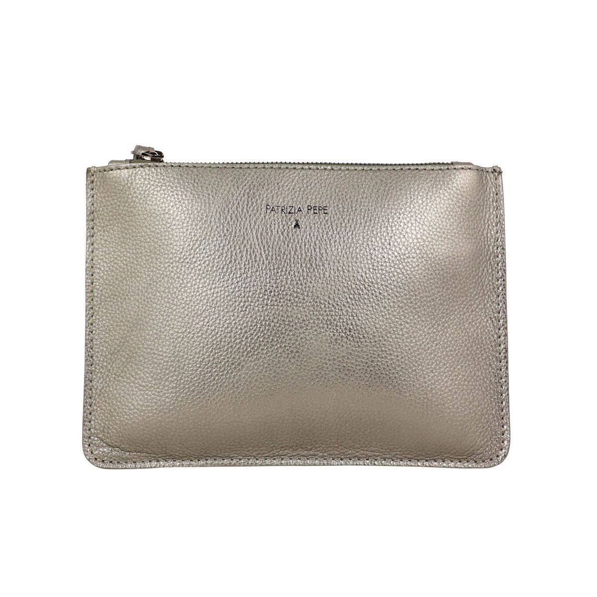 Flat clutch bag in hammered leather with strap Bronze Patrizia Pepe