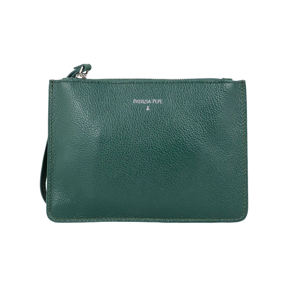 Flat clutch bag in hammered leather with strap Green Patrizia Pepe