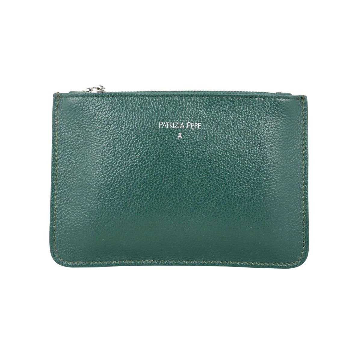 Clutch bag in hammered leather Green Patrizia Pepe