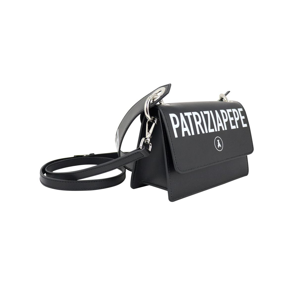 Double shoulder bag in smooth leather Black Patrizia Pepe