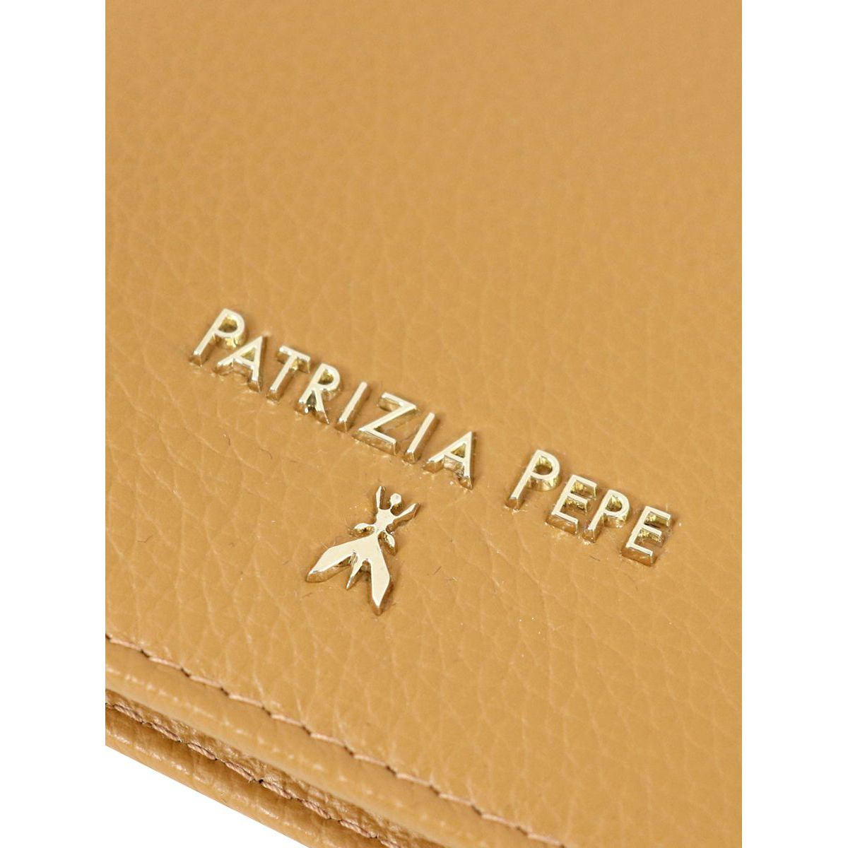 Vertical wallet in hammered leather with logo Leather Patrizia Pepe