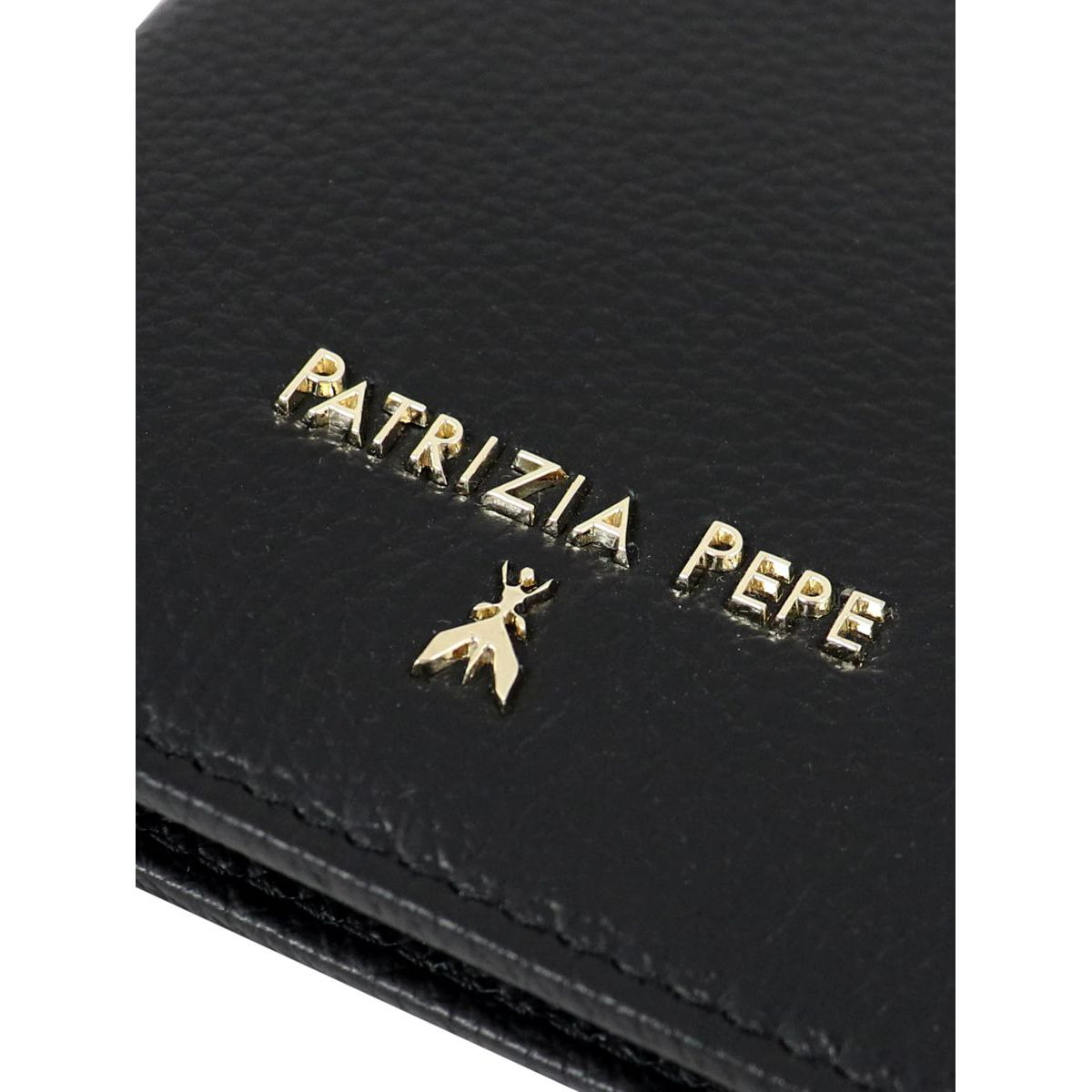 Vertical wallet in hammered leather with logo Black Patrizia Pepe