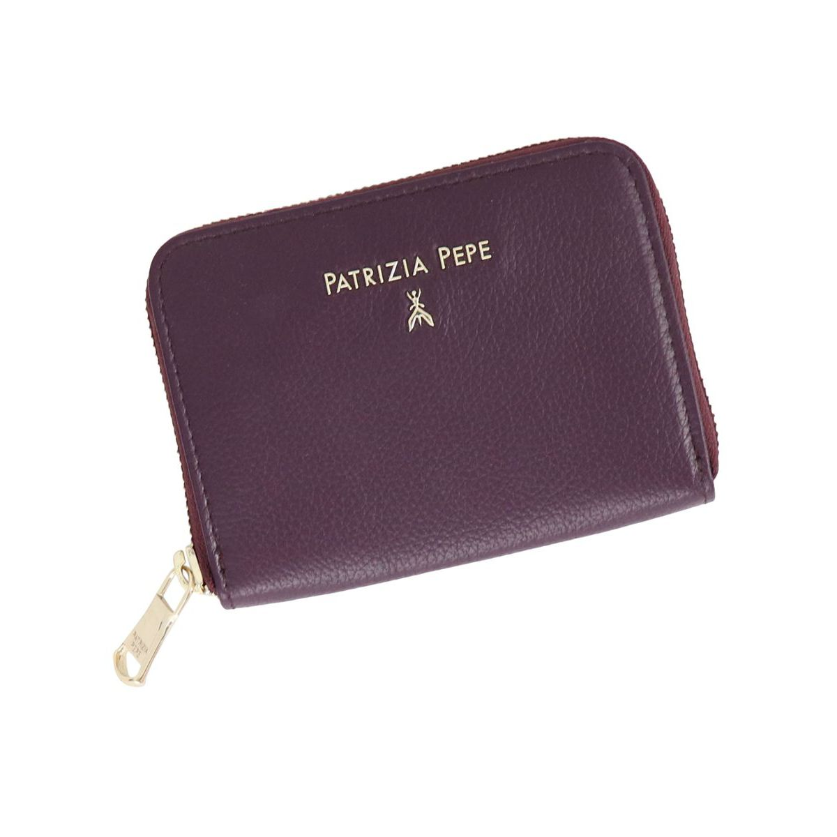 Textured leather wallet with logo Bordeaux Patrizia Pepe