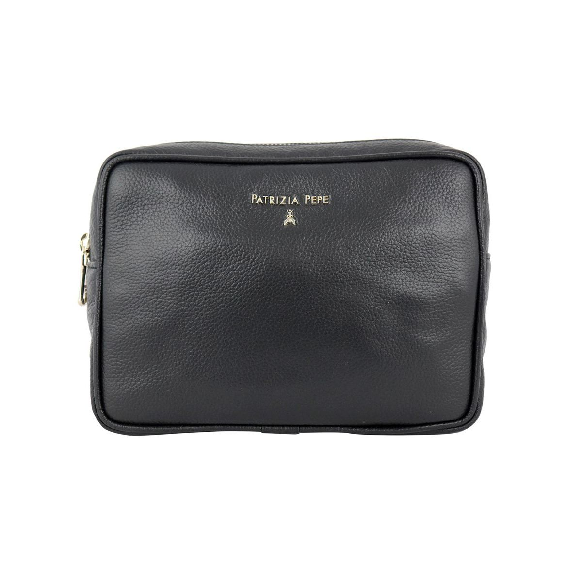 Beauty makeup case in textured leather Black Patrizia Pepe