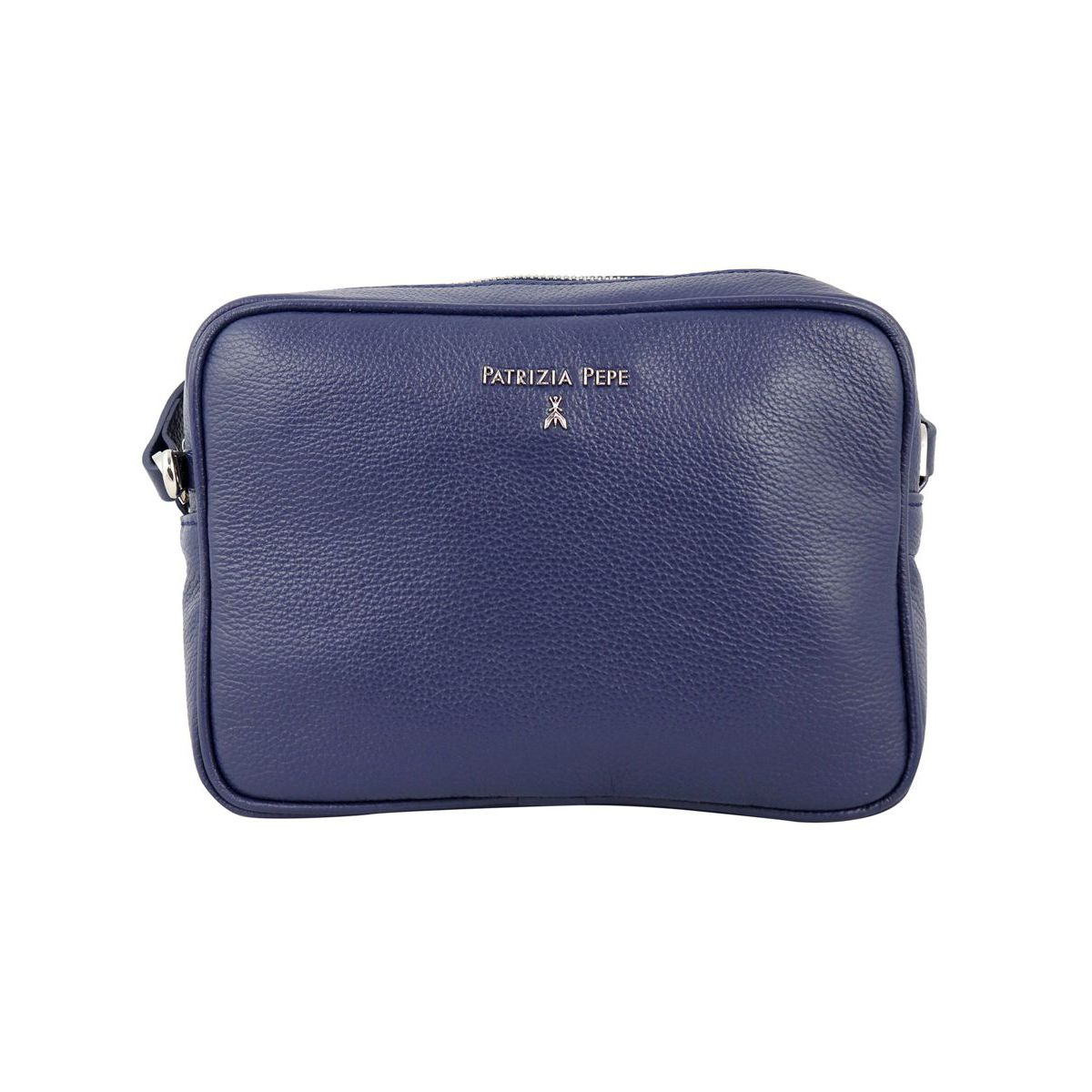 Leather shoulder bag with small embossed logo Blue Patrizia Pepe