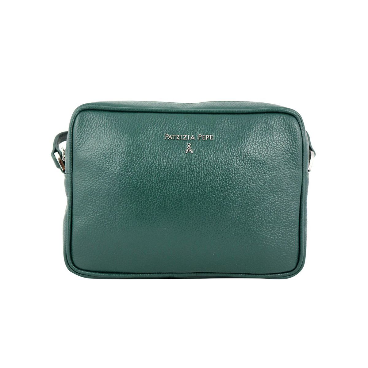 Leather shoulder bag with small embossed logo Green Patrizia Pepe
