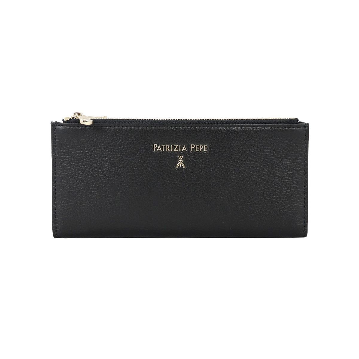 Textured leather wallet with double zip and logo Black Patrizia Pepe