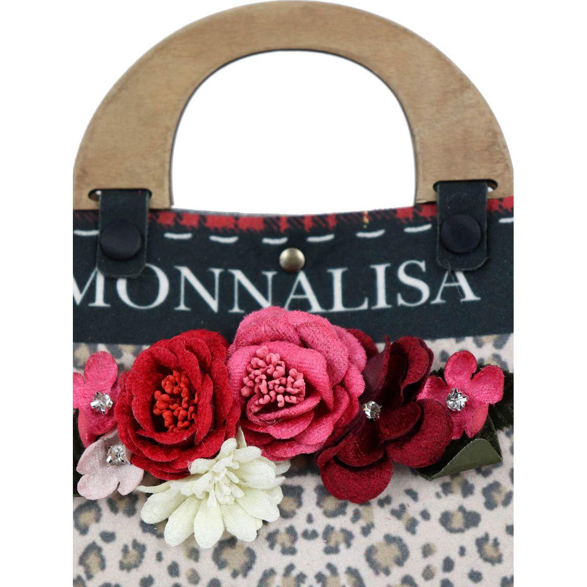 Animal print handbag with applied flowers Animal print Monnalisa