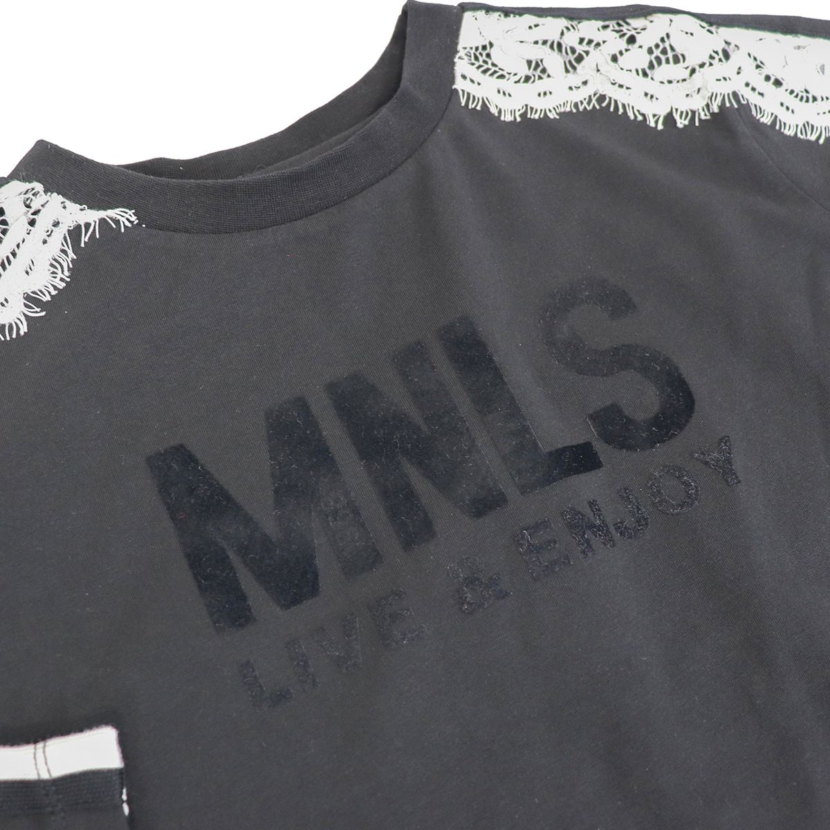 T-shirt with contrasting lace bands Black / cream Monnalisa