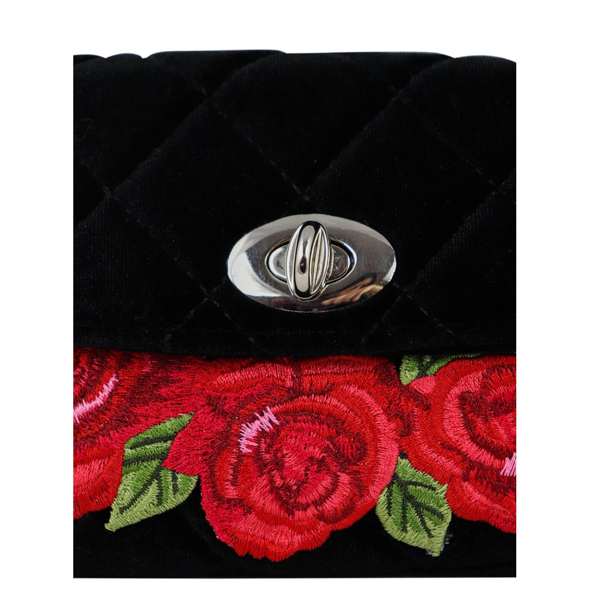 Velvet pouch with rose embroidery Black Monnalisa