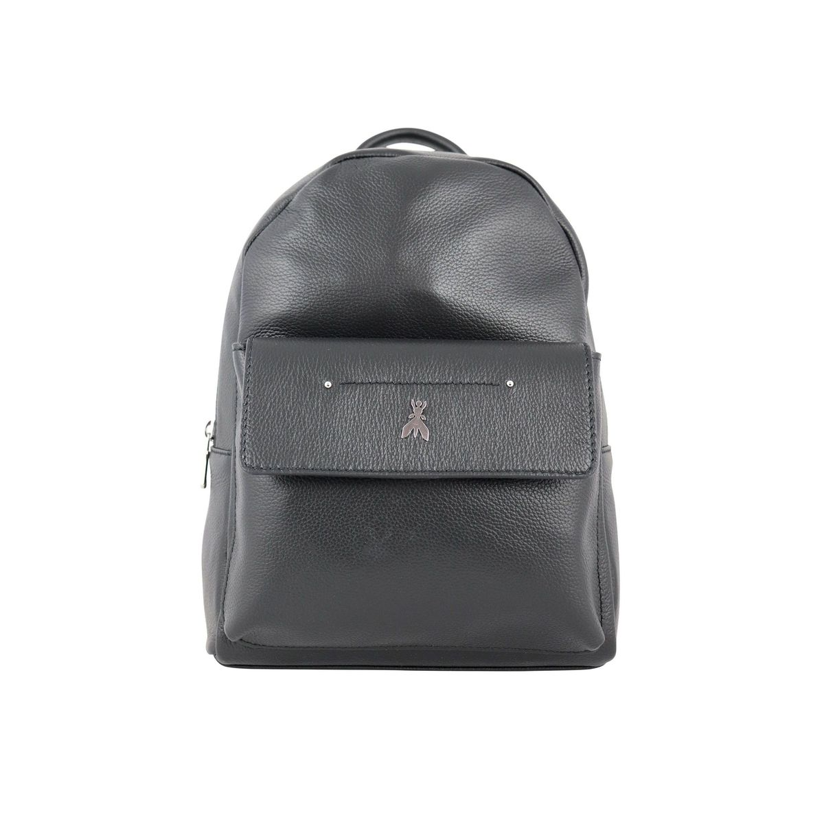 Leather backpack with flap pocket and fly logo Black Patrizia Pepe