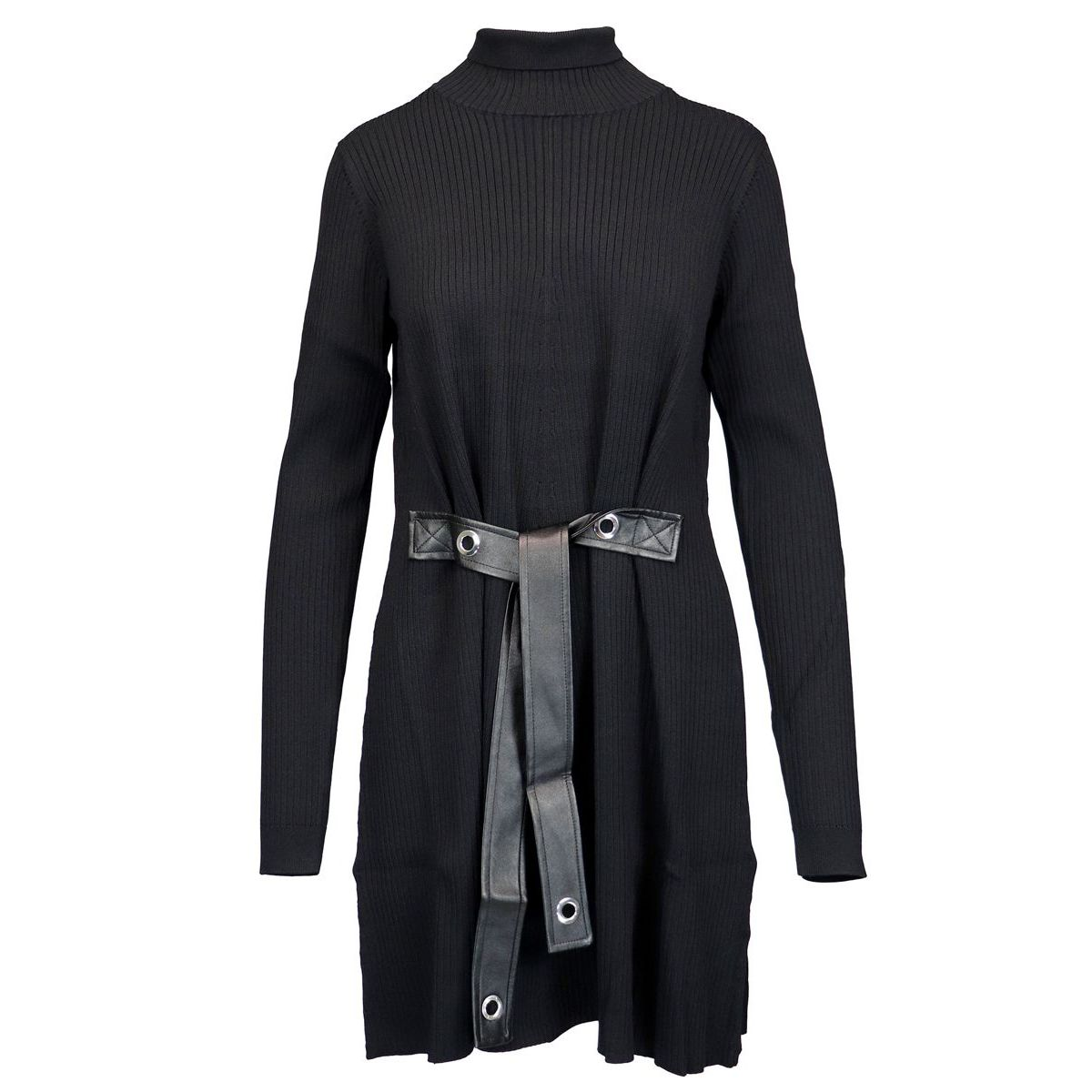 High-necked knit dress with belt Black Patrizia Pepe