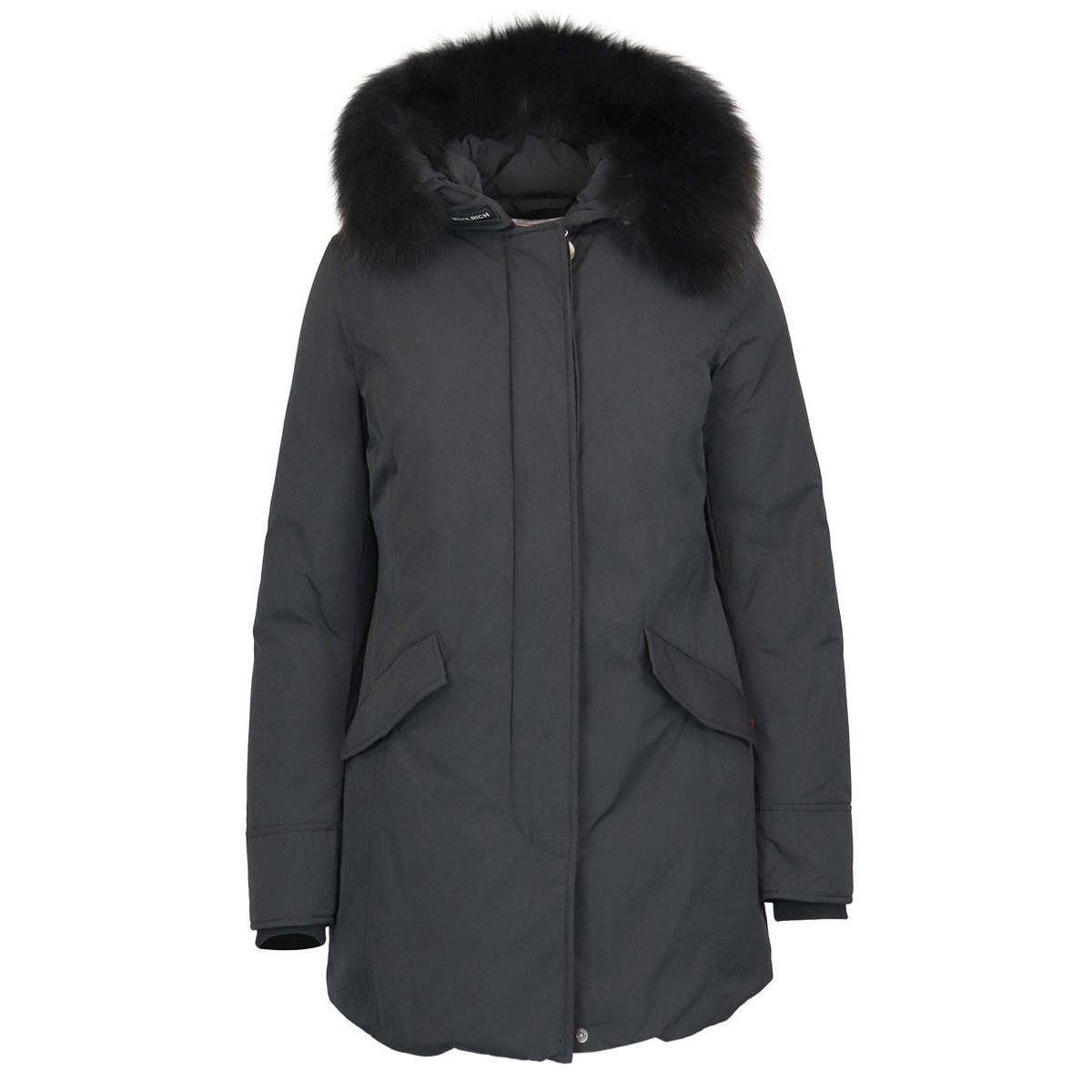 Luxury parka with fox fur Black Woolrich