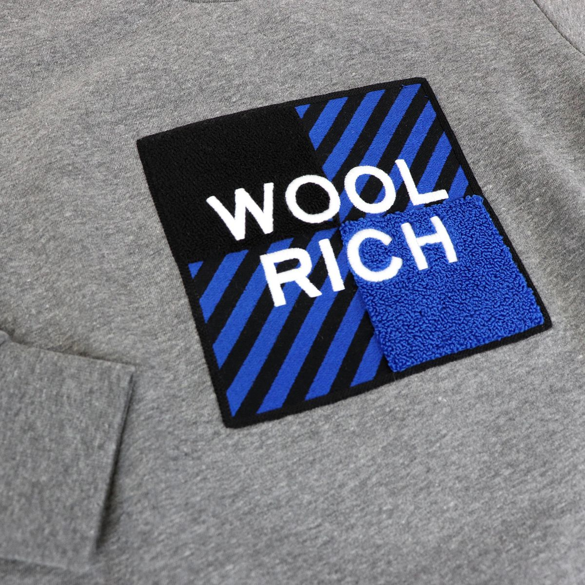 Crewneck sweatshirt with large embroidered logo Grey Woolrich