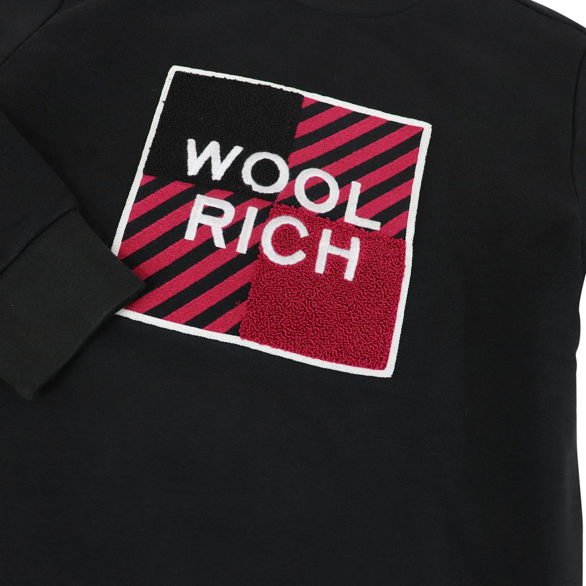 Crewneck sweatshirt with large embroidered logo Black Woolrich