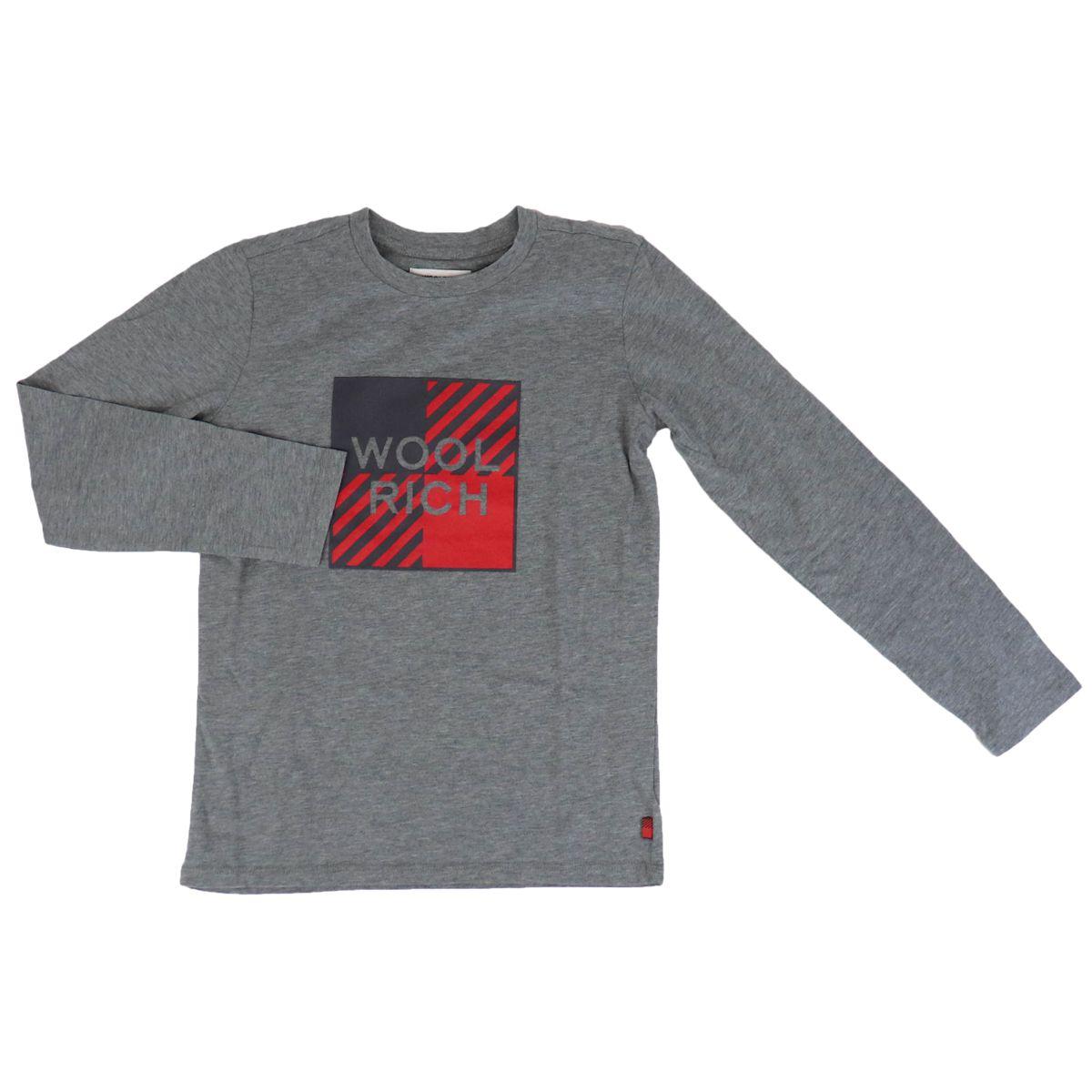 Long sleeve t-shirt with big logo print Grey Woolrich