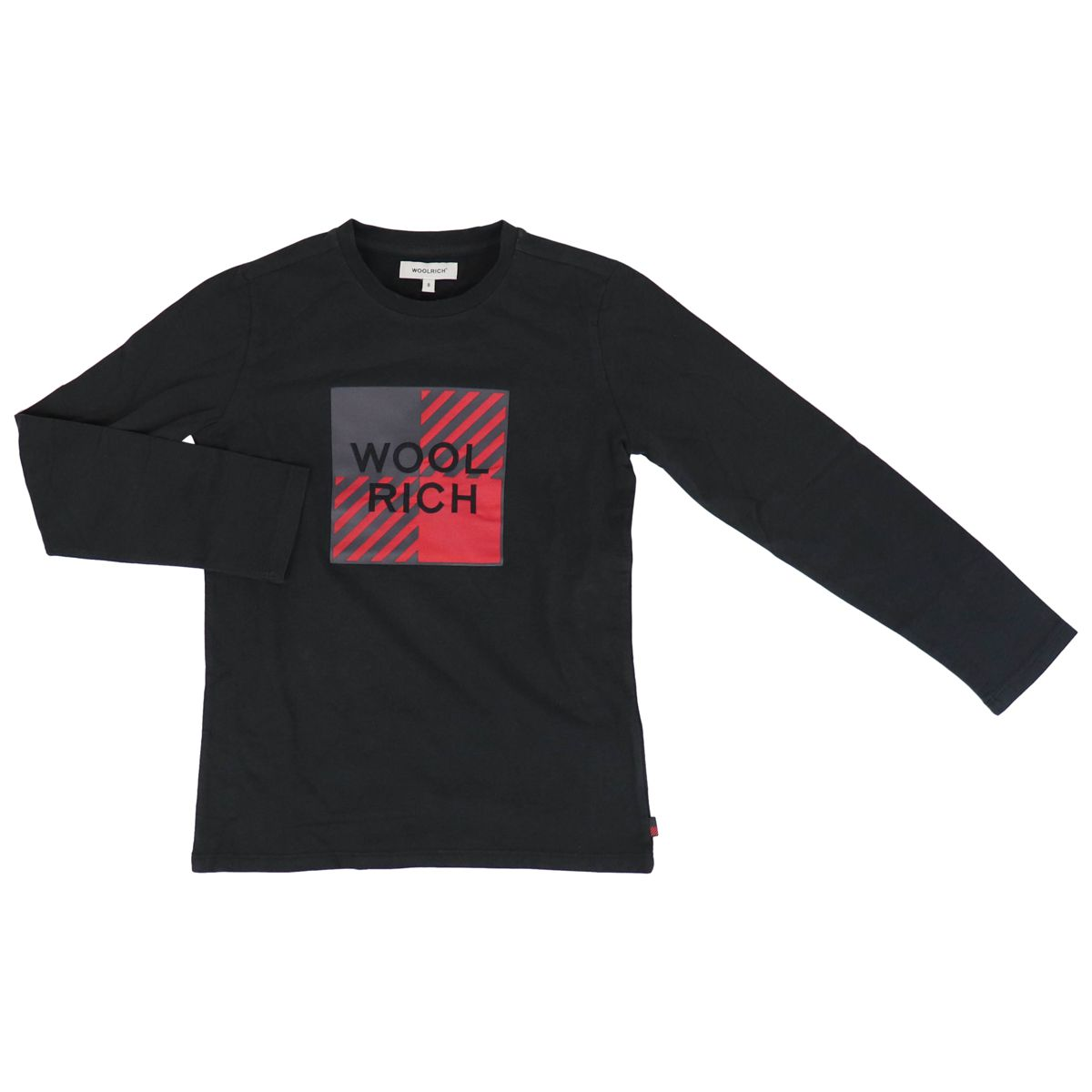 Long sleeve t-shirt with big logo print Black Woolrich