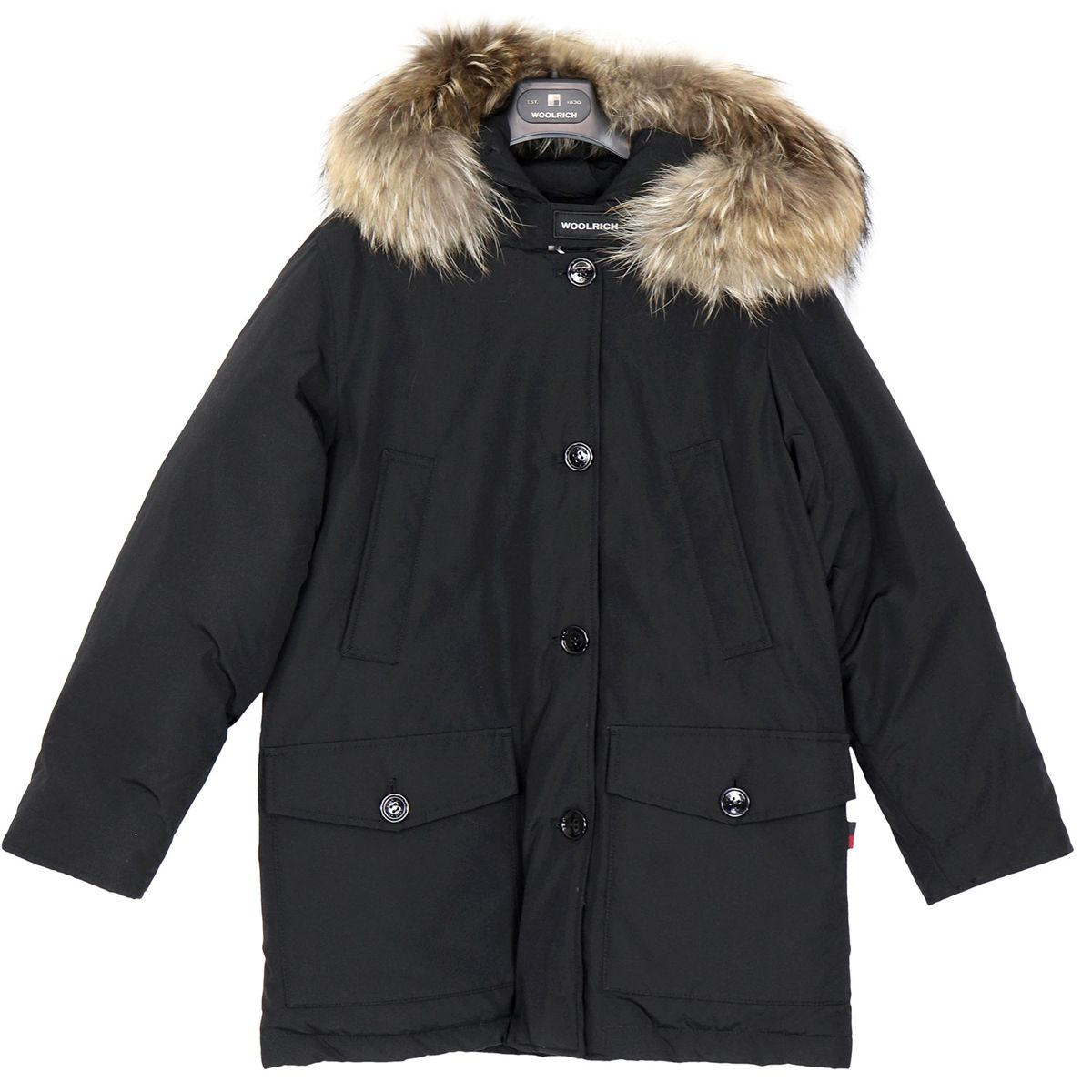Parka with hood and removable fur Black Woolrich