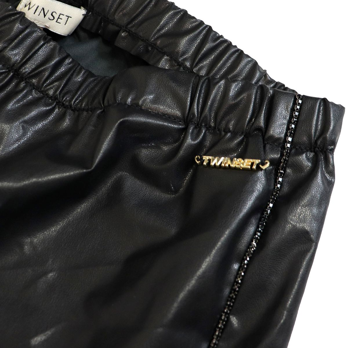 Faux leather leggings with rhinestones Black Twin-Set