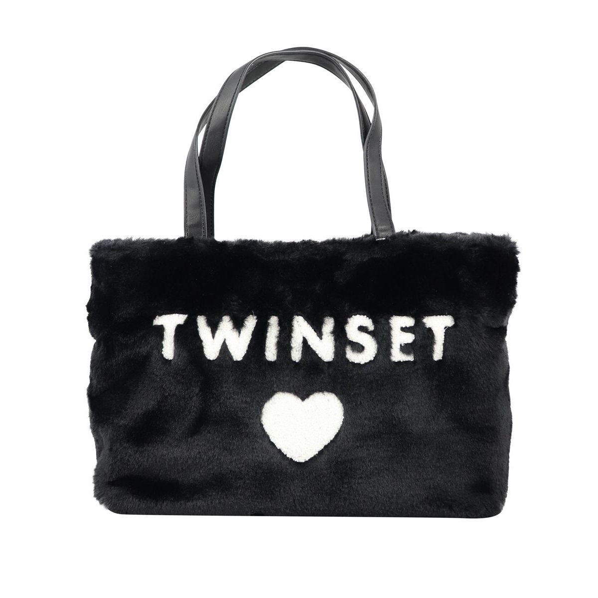 Eco-fur bag with logo and heart on the front Black Twin-Set