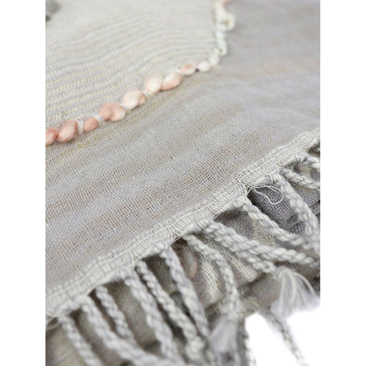 Patterned pure wool scarf with inserts and fringes Tortora Schonbberg