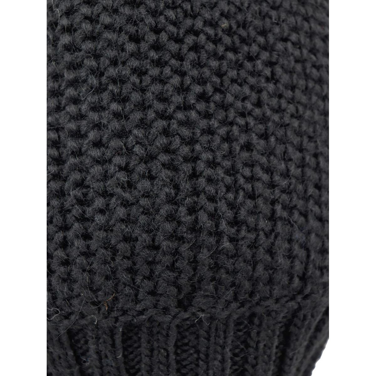 Fitted wool blend beanie with ribbed hem Black Schonbberg