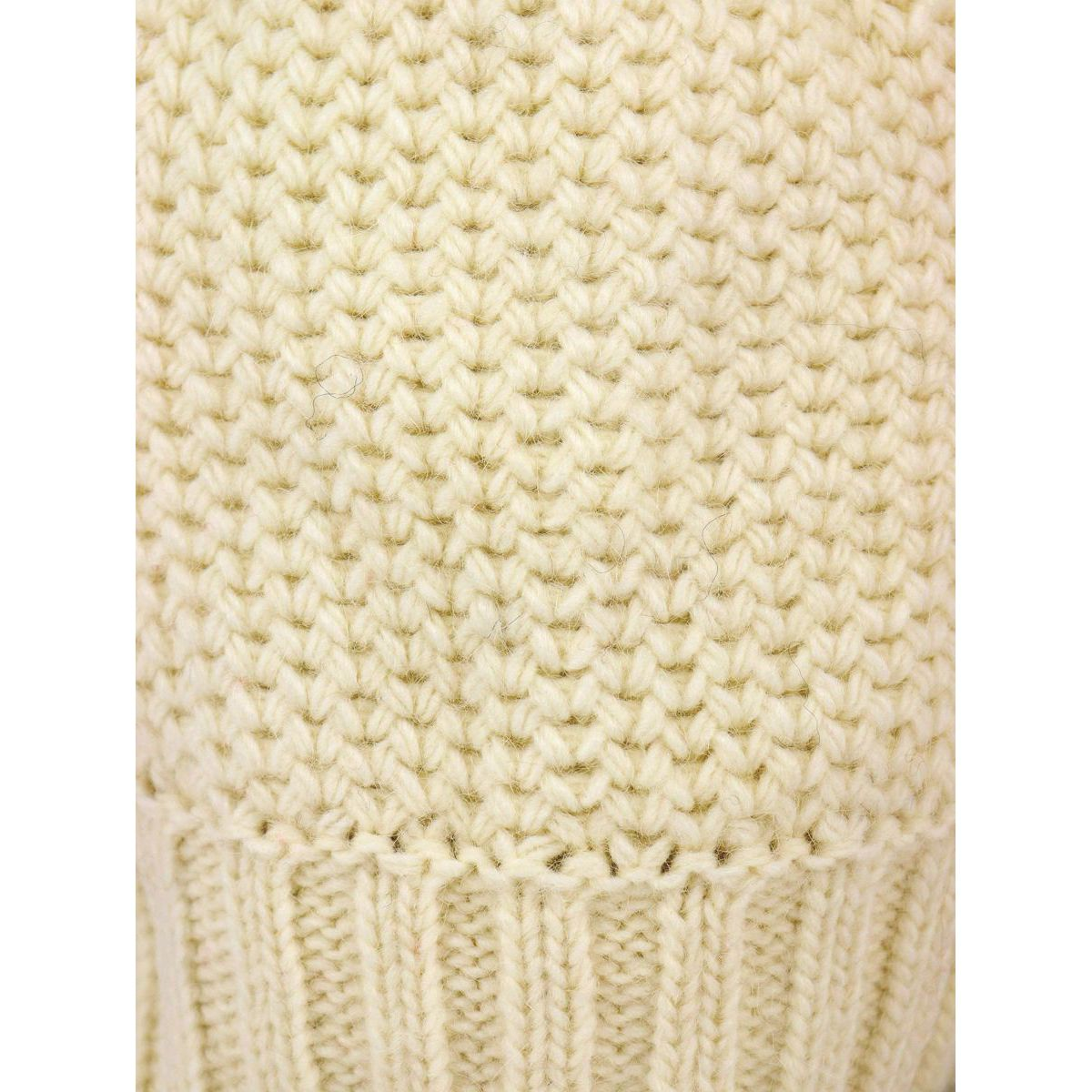 Fitted wool blend beanie with ribbed hem Cream Schonbberg