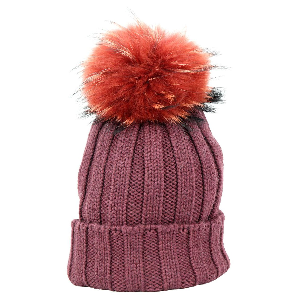 Ribbed wool cap with fox pon pon Bordeaux Schonbberg