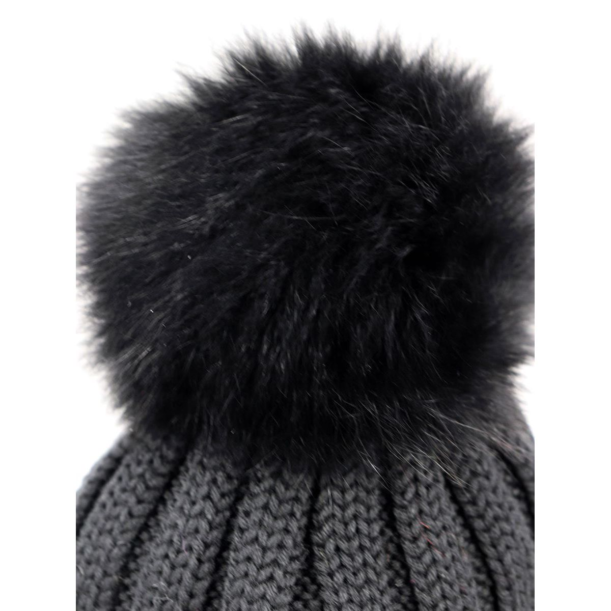 Ribbed wool cap with fox pon pon Black Schonbberg
