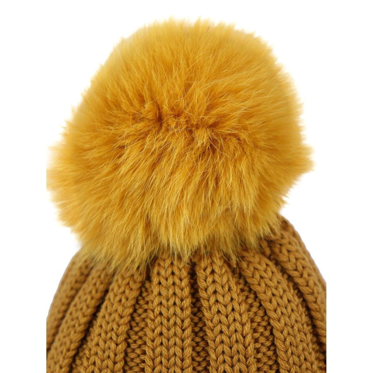 Ribbed wool cap with fox pon pon Mustard Schonbberg