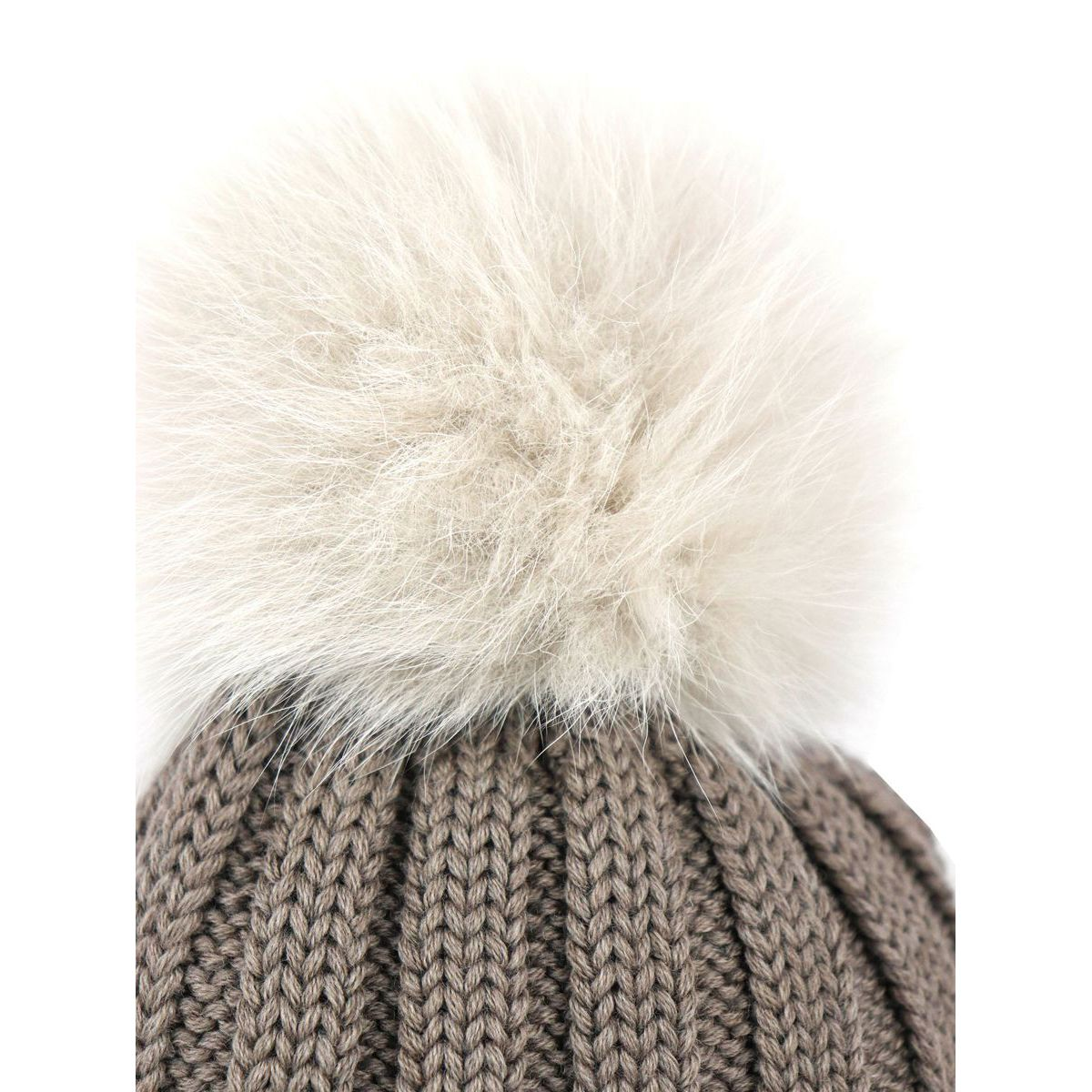 Ribbed wool cap with fox pon pon Tortora Schonbberg