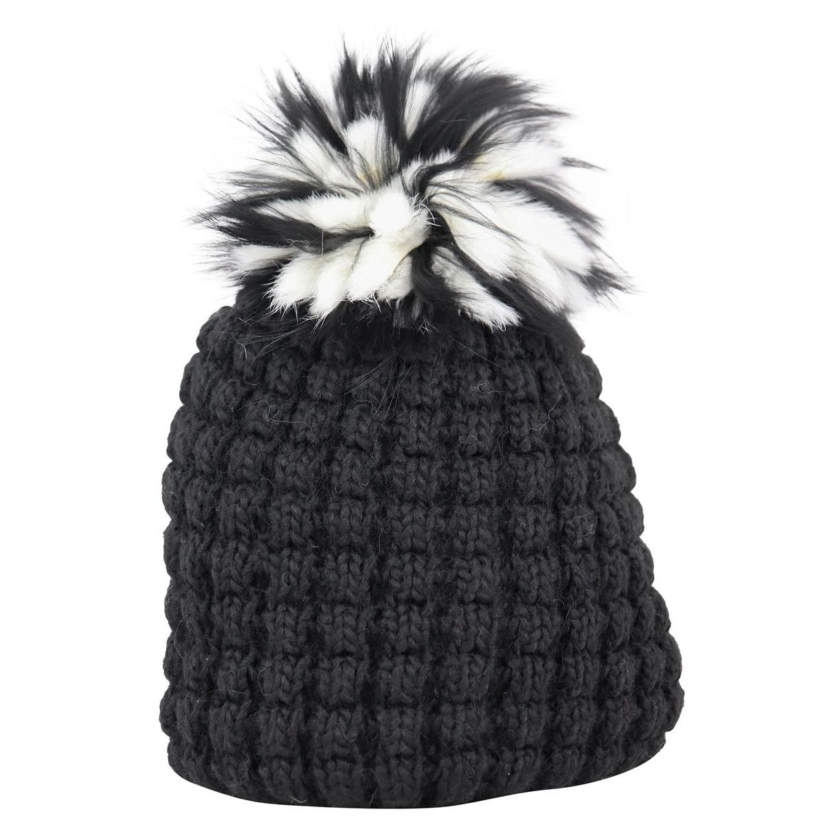 Wool blend hat with fox pon pon Black Schonbberg