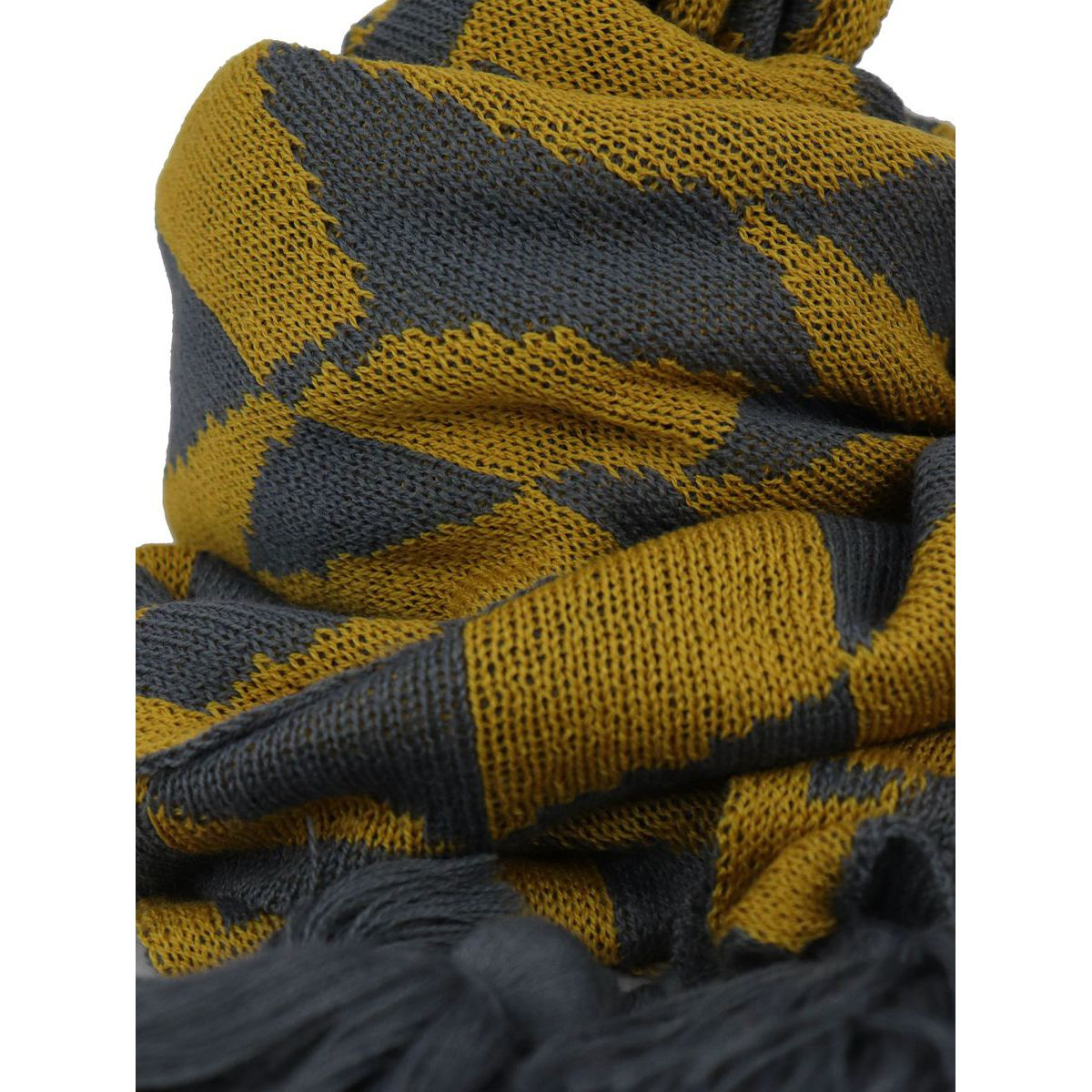 Bicolor wool scarf with fringe Yellow Schonbberg