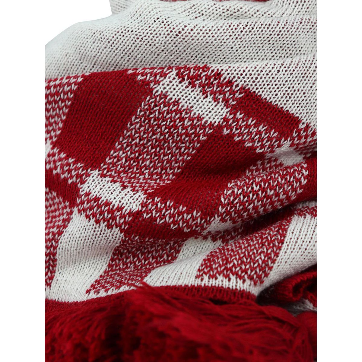 Bicolor wool scarf with fringe Red Schonbberg