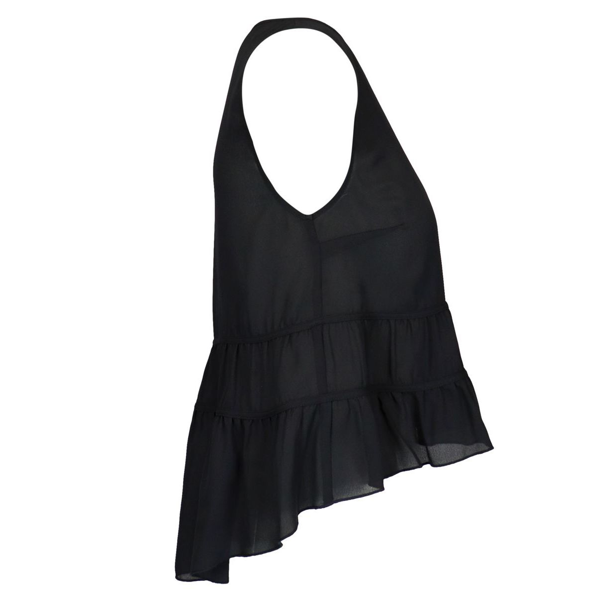 Sleeveless crepe top with flounces on the bottom Black Patrizia Pepe