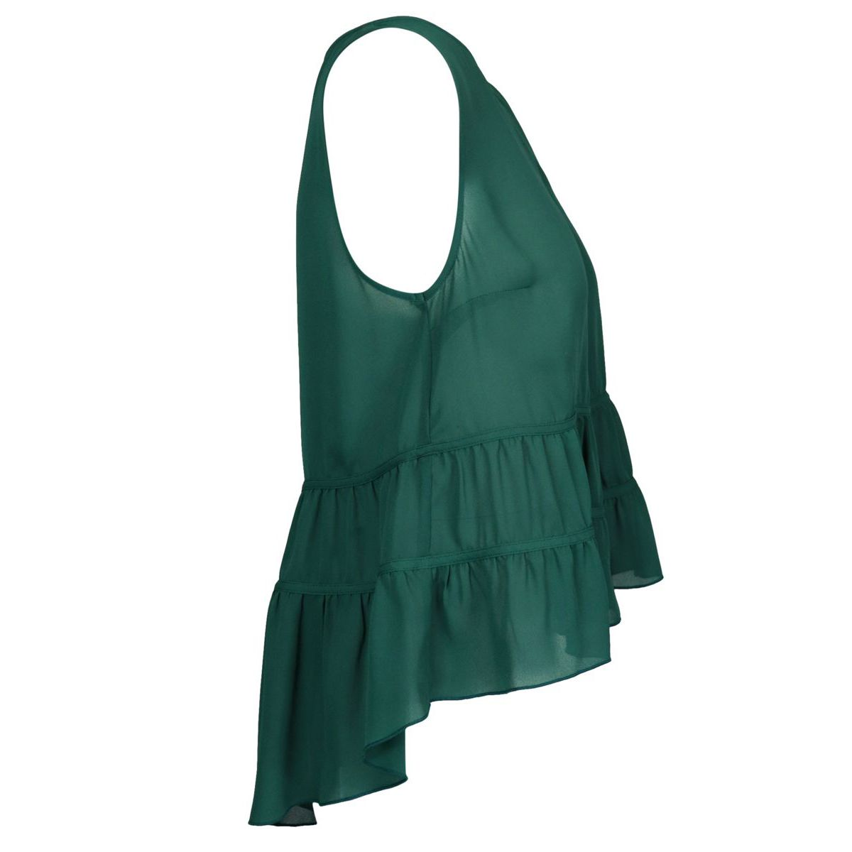 Sleeveless crepe top with flounces on the bottom Green Patrizia Pepe