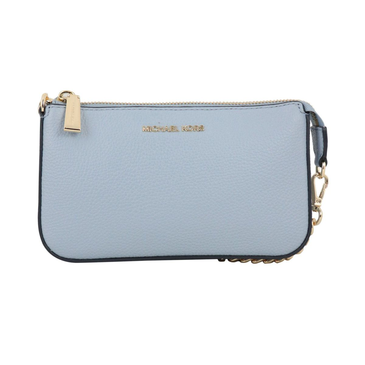 Mini textured leather bag with chain shoulder strap Light blue Michael Kors