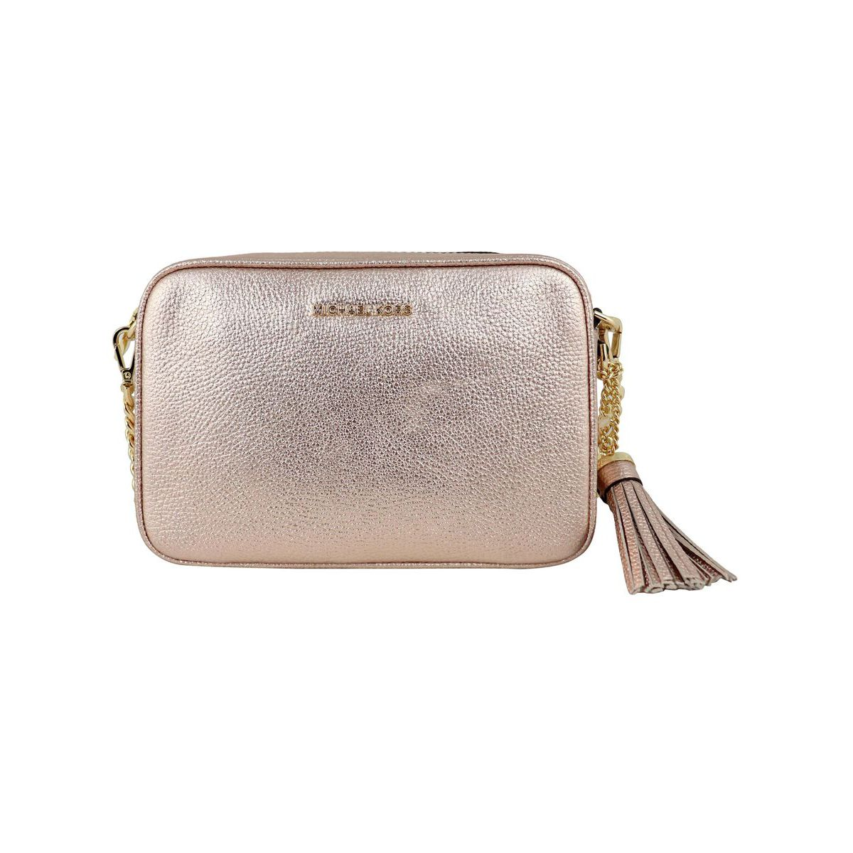 Shoulder bag in GINNY metallic leather Pink Michael Kors