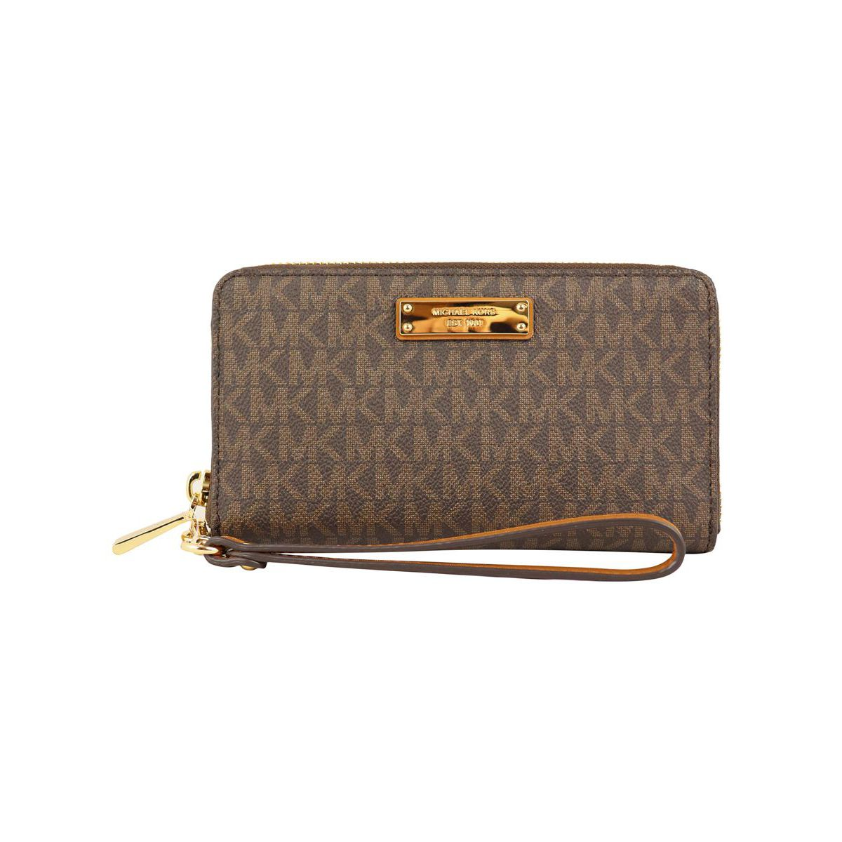 FLAT CASE wallet with detachable bracelet Brown Michael Kors