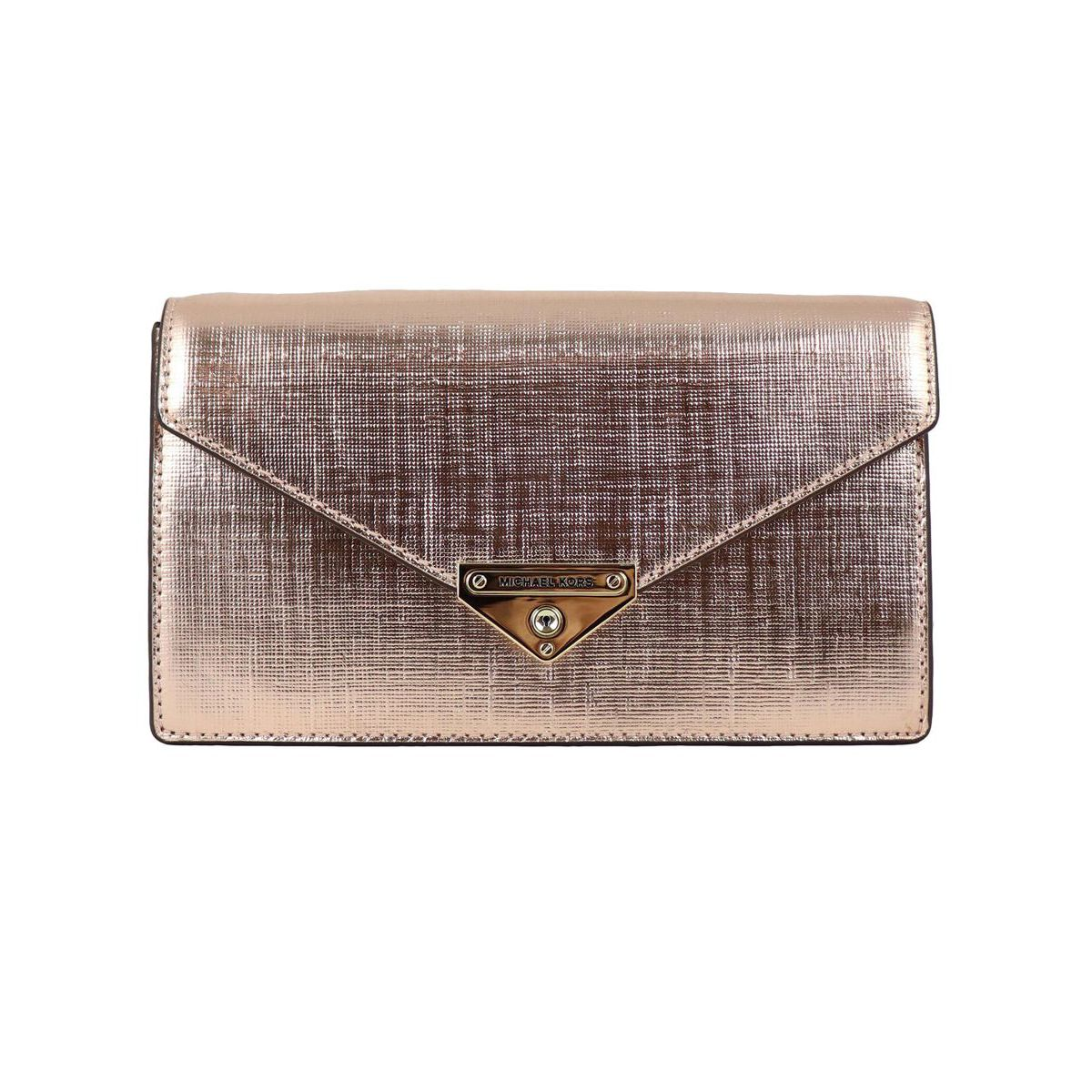 GRACE bag in metallic leather with chain Pink gold Michael Kors