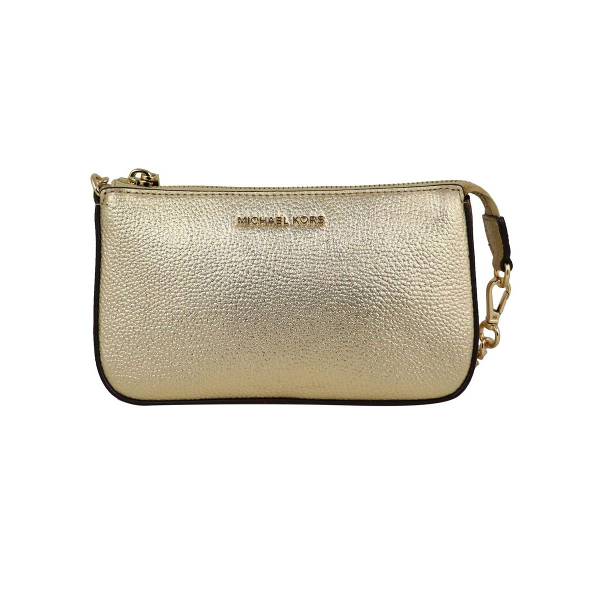 Pochette in textured leather with chain shoulder strap Gold Michael Kors