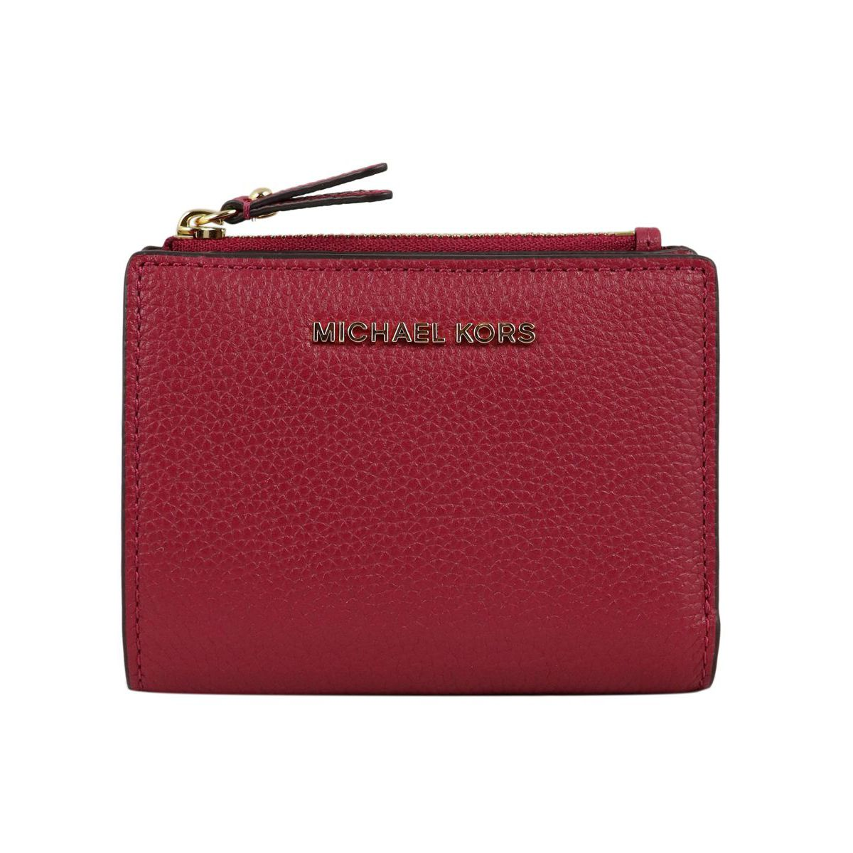 Small wallet with external zip in textured leather Cherry Michael Kors