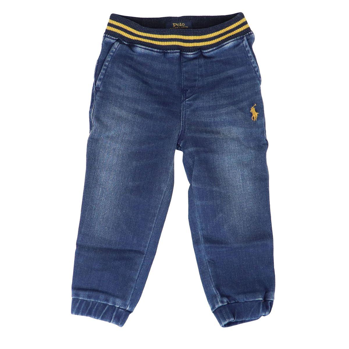 Welt pocket jeans with elastic waist and cuffs at the bottom Dark denim Polo Ralph Lauren