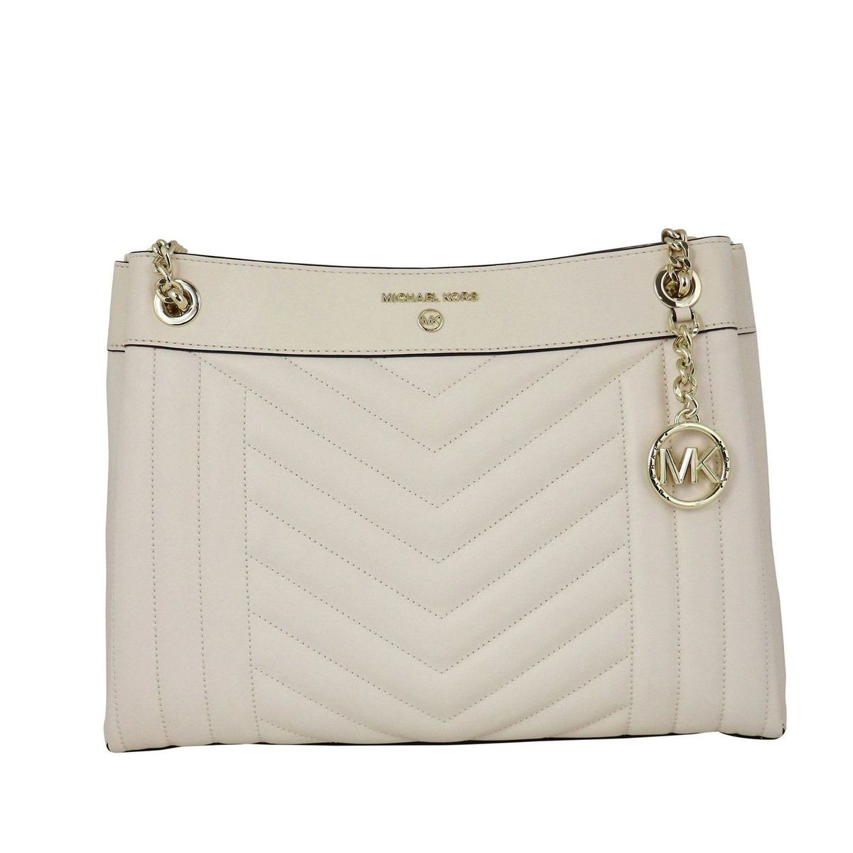 Bag in matelassé leather with details and golden chains Milk Michael Kors