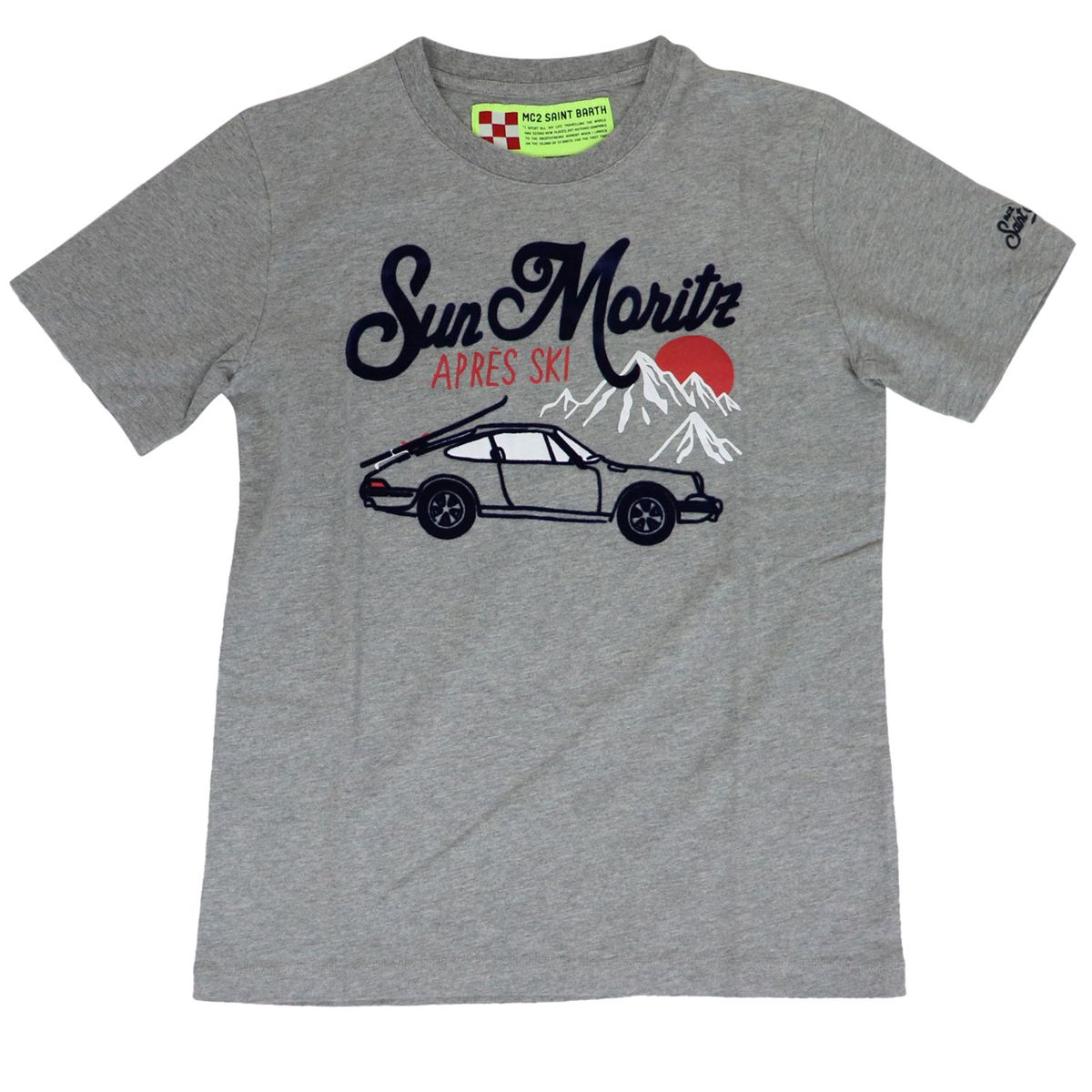 Short sleeve cotton t-shirt with front print Grey MC2 Saint Barth