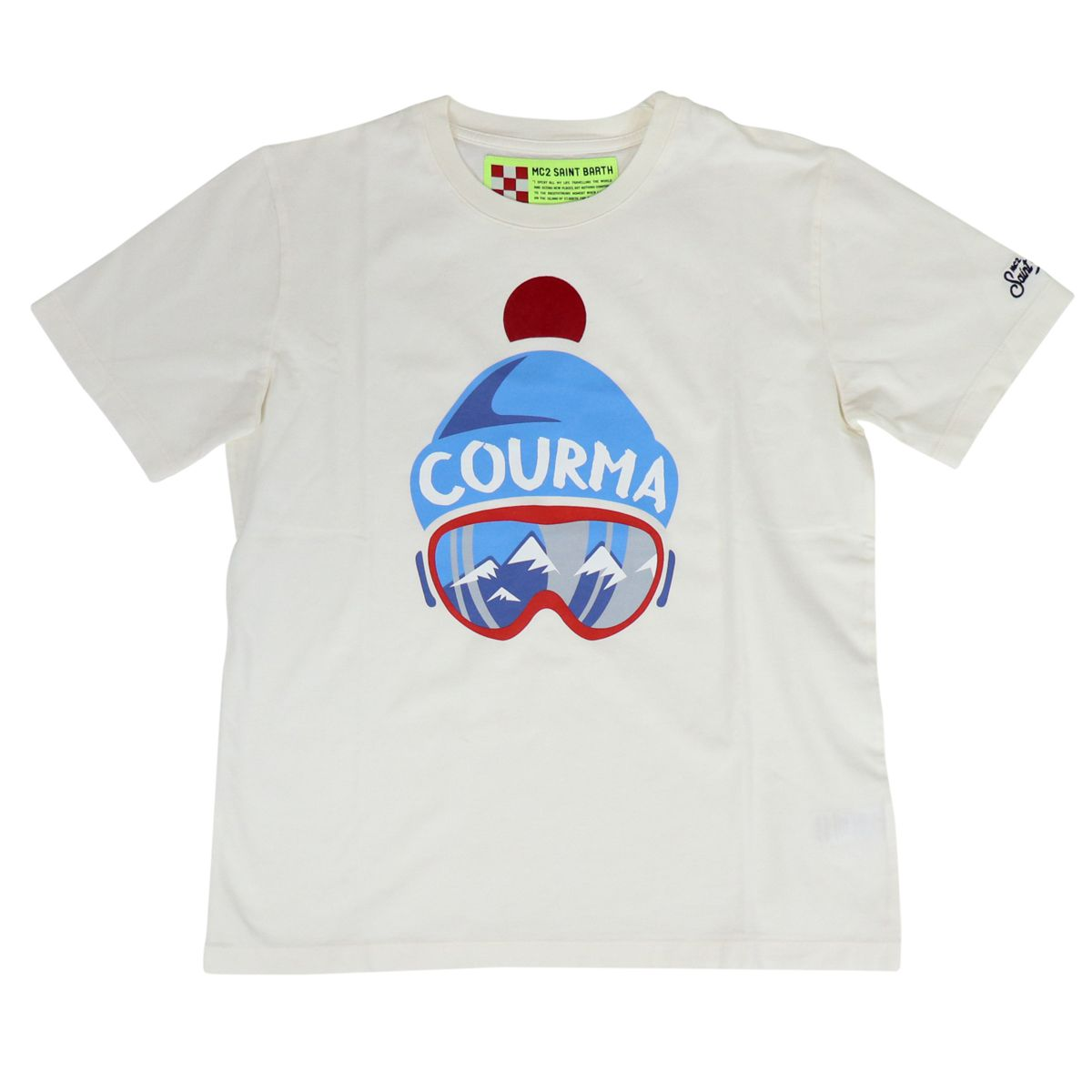 Short sleeve cotton t-shirt with front print Cream MC2 Saint Barth