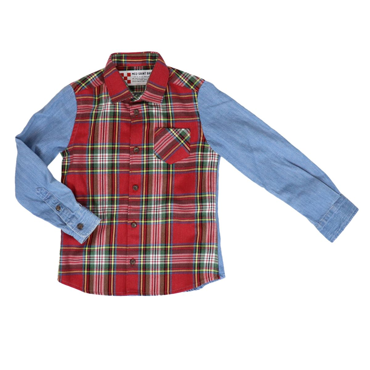 CHAMONIX madras patterned shirt with jeans effect sleeves Red MC2 Saint Barth