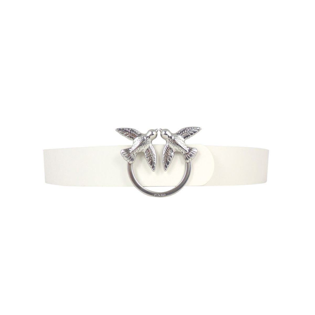 Berry Simple leather belt with Love Birds buckle White Pinko