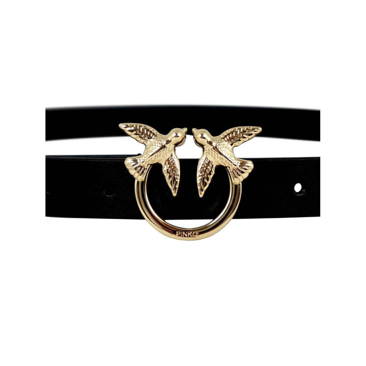 Berry Simple leather belt with Love Birds buckle Black Pinko