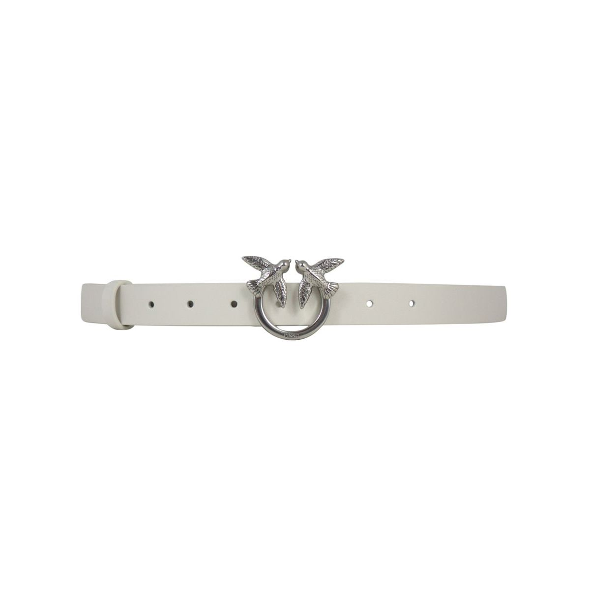 Berry Simple small belt in leather with Love Birds buckle White Pinko